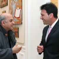 Αλέκος Φασιανός και Θάνος Αγγελάκης στο περιθώριο της παρουσίασης στο Μουσείο Μπενάκη