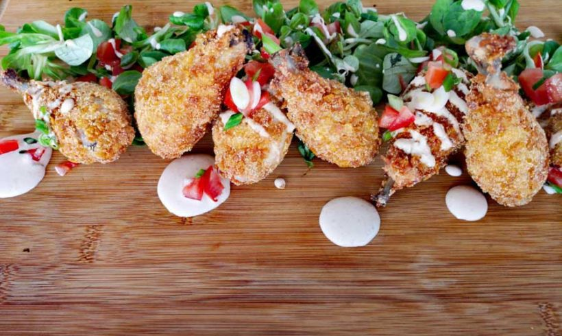 Τηγανητό Κοτόπουλο με κρούστα Καλαμποκιού και Μαγιονέζα Παρμεζάνας