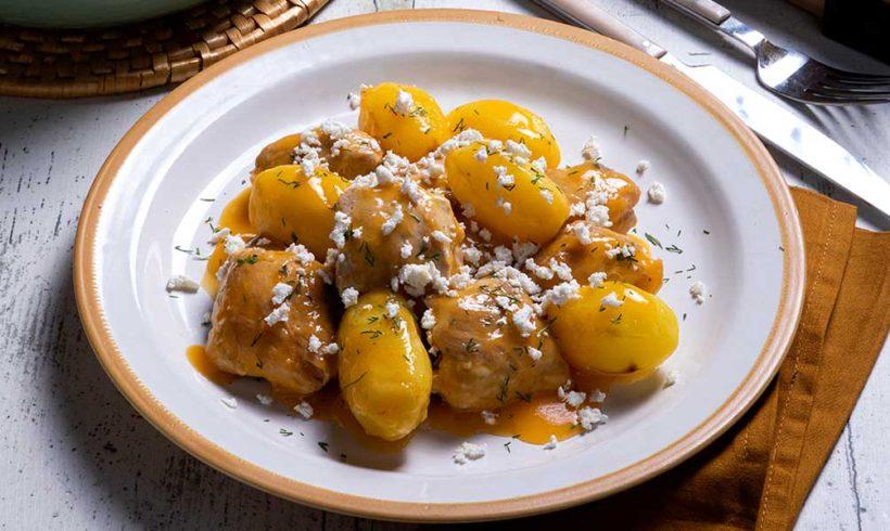 Κοτόπουλο Λεμονάτο με Πατάτες Baby και Aνθότυρο